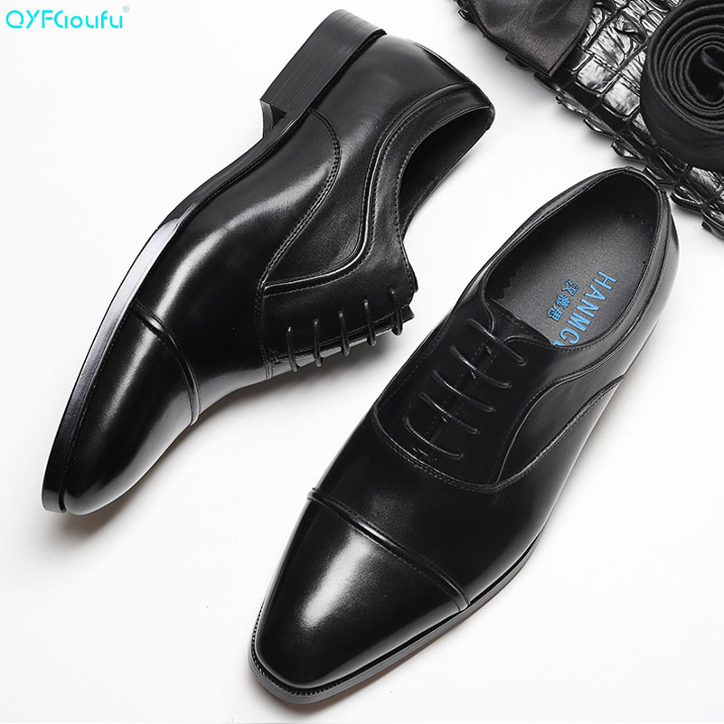 QYFCIOUFU Mens Dress Shoes New Arrival British Style Square Toe Formal Men Leather Fashion Lace-up Office