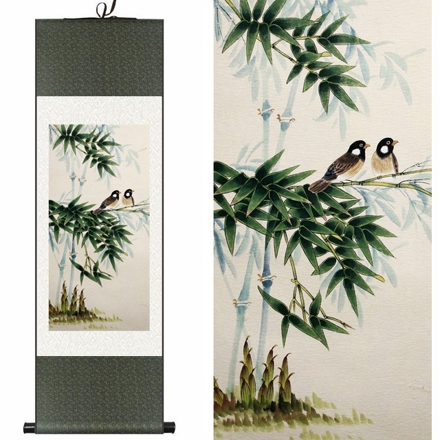 Home Decor Traditional Chinese Silk watercolor ink Bamboo Two Birds art canvas wall damask picture framed scroll painting gift