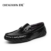 Mens Leather flats Loafers 2017 summer for men driving shoes black blue moccasins Leather peas man Shoes C61090 CHENGYUAN