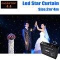 2 м * 4 м 160 шт. светодиодная ткань со звездами  90 В-240 В светодиодные свадебные фоны одноцветная светодиодная ткань со звездой с контроллером д...
