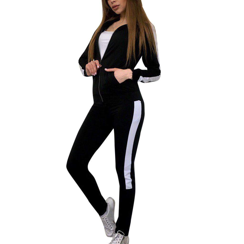 Loyal Womail Fashion Women Casual Stripe Long Sleeve Zipper Pullove Sport Tops+long Pants Set Fashion Trend The Most Sexy Suit M301203 Keep You Fit All The Time Women's Clothing
