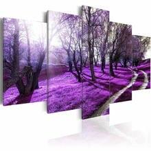 5 шт натуральный Пейзаж Плакат деревья Солнечный лужайка печать