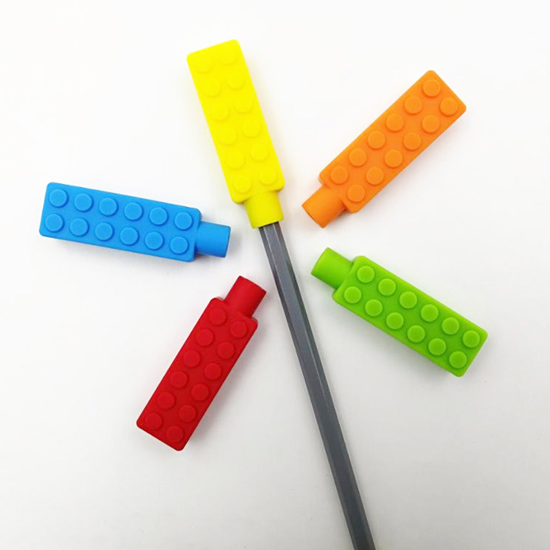 5PCS Silicone Brick Pen Topper Chewable Pencil Toppers Baby Teethers Kids Sensory Toy Food Grade