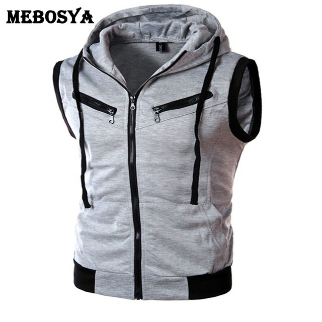 2016 Men Grey Hoodies Knitted Casual Sleeveless Jacket Autumn Fitness Mans Vest Male Slim Fit Hooded Zipper Sweatshirts