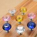 10 pcs cristal de diamante botão cozinha móveis alça de vidro gaveta do armário da gaveta puxa Closet decoração cristal puxadores DIA 30 mm