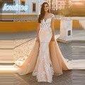 2017 Sereia Longo Lace Apliques Vestidos de Casamento com Saia Destacável Sheer O-Neck Mangas Vestido De Noiva Trouwjurk 2016