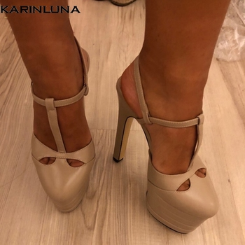 Karinluna 2019 big Size 42 inside sheepskin leather Shoes Woman High Heels Platform Party Wedding brides Sandals Women PUMPS