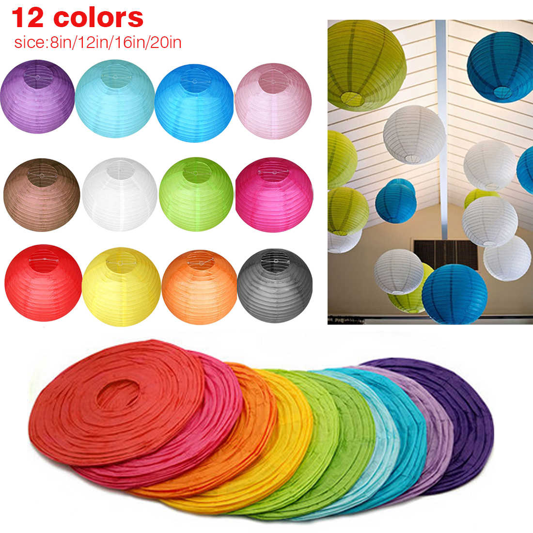 20cm/30cm/40cm Chinese Paper Lanterns Lamp Shade with Frame Round Decorative Rice Paper for Wedding Birthday Party Hanging Decor