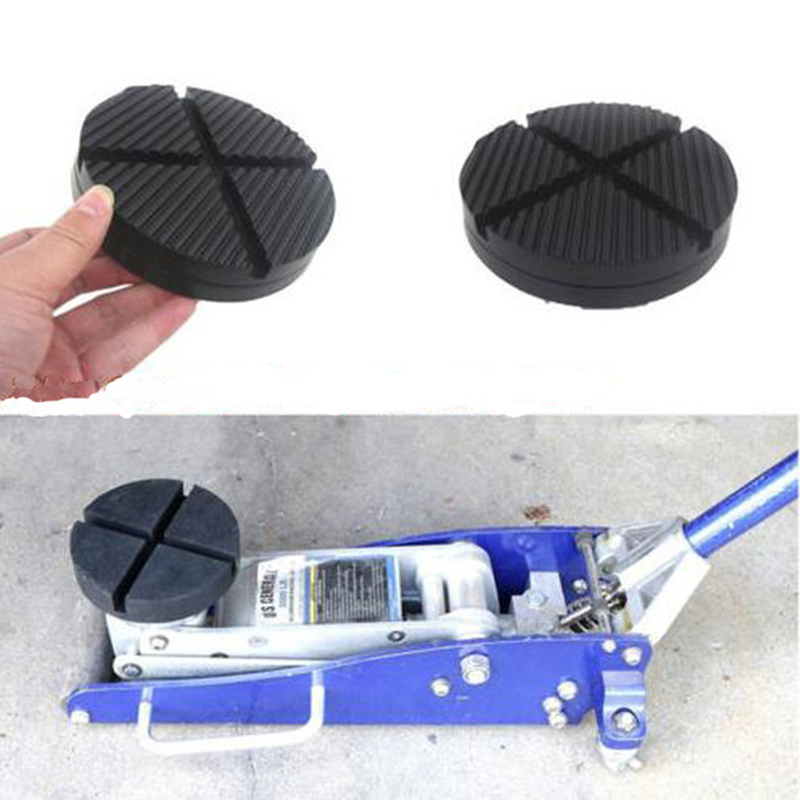 2pcs Universal Car Truck Cross Slotted Frame Rail Floor Jack Disk Rubber Pad Adapter