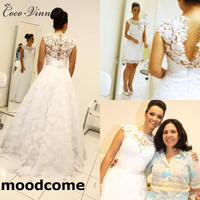New Detechable Tail Bohemian Lace Wedding Dresses Two In One A line Appliques Plus Size Vintage Wedding Gowns