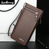 Business Men's Baellerry Wallets Solid PU Leather Long Wallet Portable Cash Purses Casual Standard Wallets Male Clutch Bag