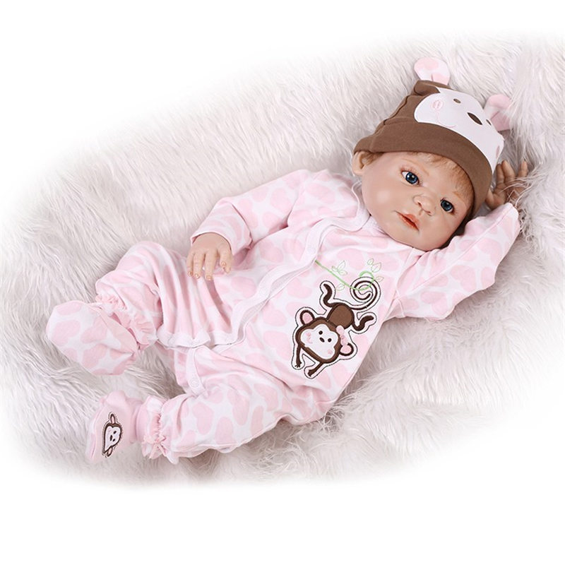 Newborn Full Body Silicone Bebe Doll Reborn 21 Inch Realistic Collectible Baby Boy Reborn Doll Kids Toy Simulator Dolls For Sale economic newborn baby model flexible full term baby doll