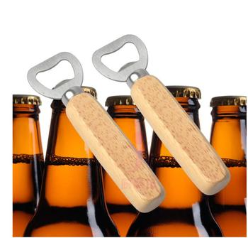 Free shipping 100pcs Metal Stainless Steel Beer Bottle Opener With Wooden Handle For Wedding Party Gift