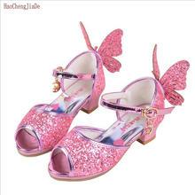 2018 Sommermode Kinder Sandalen Kinder PU Tanz Prinzessin Schuhe für Mädchen Hübsche Party Glitter Schmetterling High Heel Sandaletten