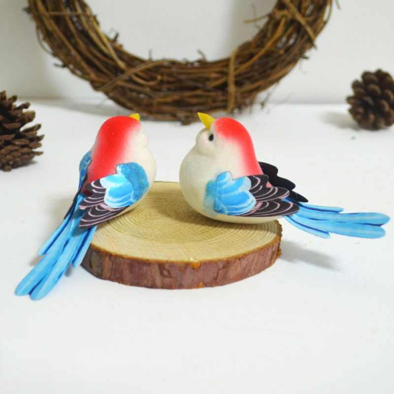 2 adet Köpük Sevimli Kuş El Yapımı Yapay Kuşlar Kafa Düğün Dekorasyon DIY Çelenk Hediye Kutusu Scrapbooking Craft Sahte Bahçe Dekor
