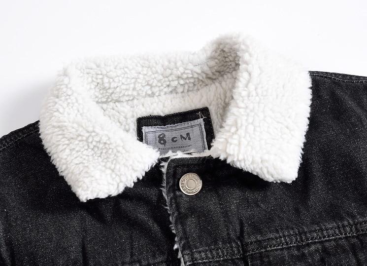 Plus La Épais 7414 Veste Laine Chaqueta Hombre 2018 Hommes Jeans 5xl Denim Doublure Manteau Chaude Taille Mince Bomber D'hiver Noir aqaZwrP