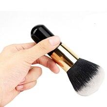 2017 New Big Size Face Flat Foundation Brush Short Handle Powder Cosmetic Makeup Brush Dome Blush Women Beauty Makeup Tool JU303