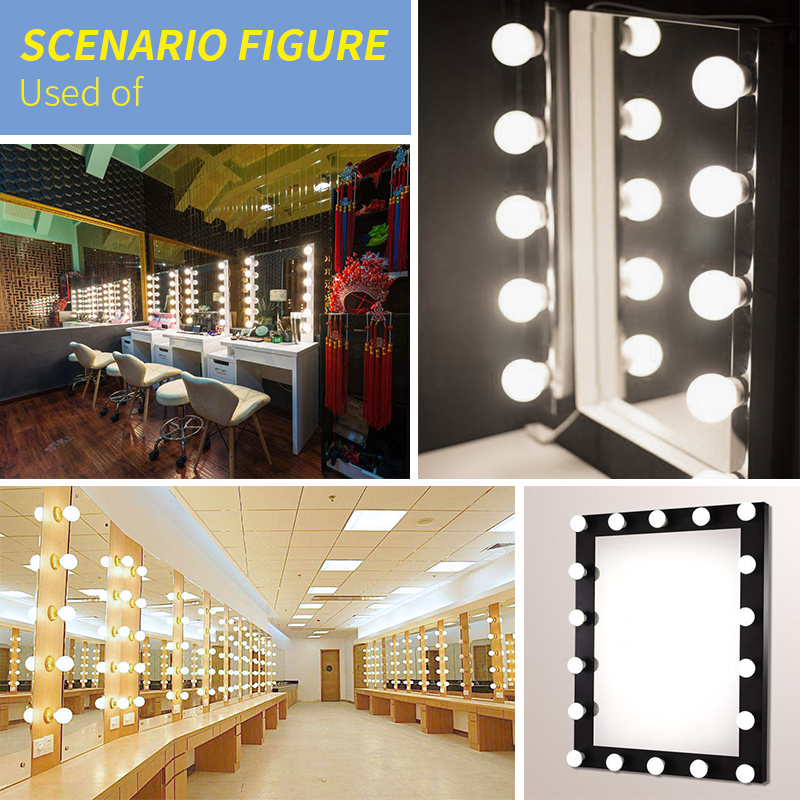 US $20.59 25% OFF|6PCS 10PCS 14PCS Makeup Mirror LED Light Bulb Chain wall  Lamp Bathroom Light Vanity Mirror Hollywood Dimming Bedroom luminaria-in ...