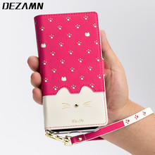 Кожаный бумажник чехол для iPhone 6 S 7 8 милый кот модель для женщин телефон сумка с ремешком с отделением для карт, на магните откидная крышка для iPhone чехол
