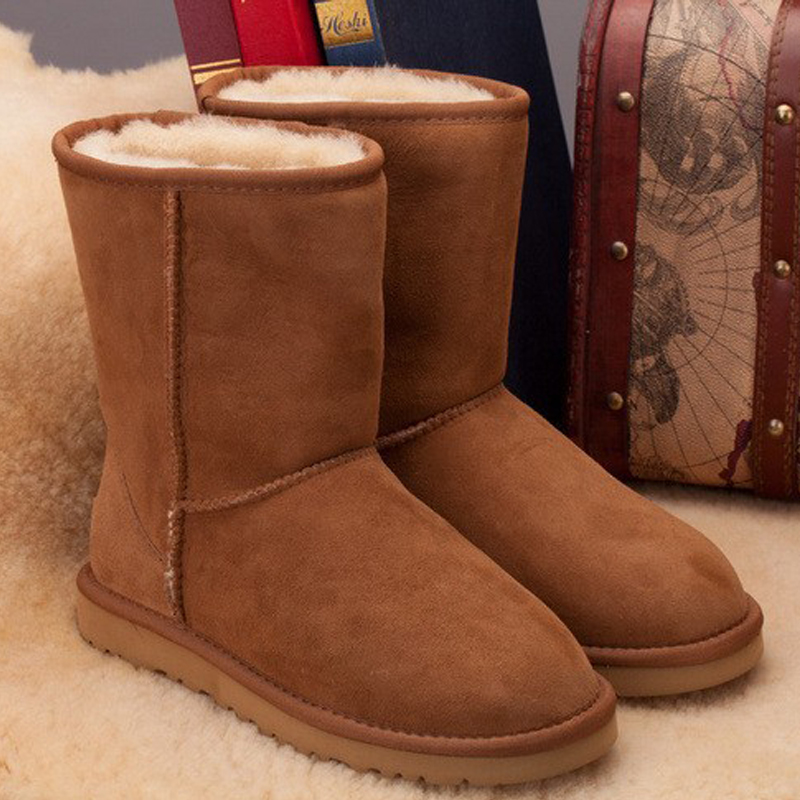 ФОТО Hot Selling 100% Real Sheepskin Brand Classic Snow Boots For Women Winter Boots Wholesale Retail Free Shipping Drop Shipping