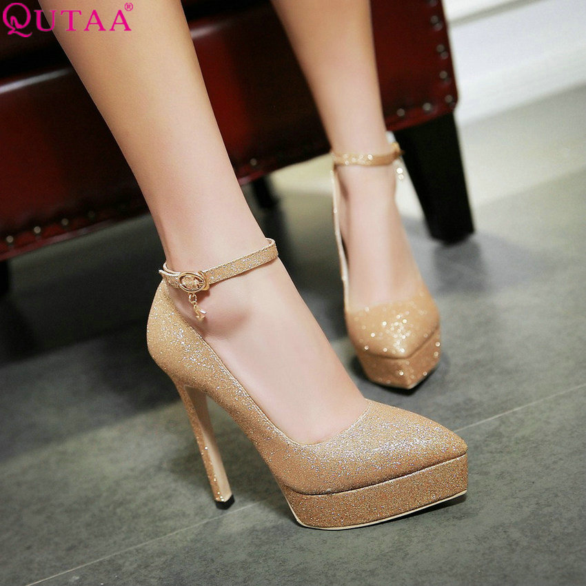 QUTAA 2020 Women Pumps Fashion Women Shoes Pointed Toe Platform Pu Leather Thin High Heel Buckle Ladies Wedding Pumps Size 34-43