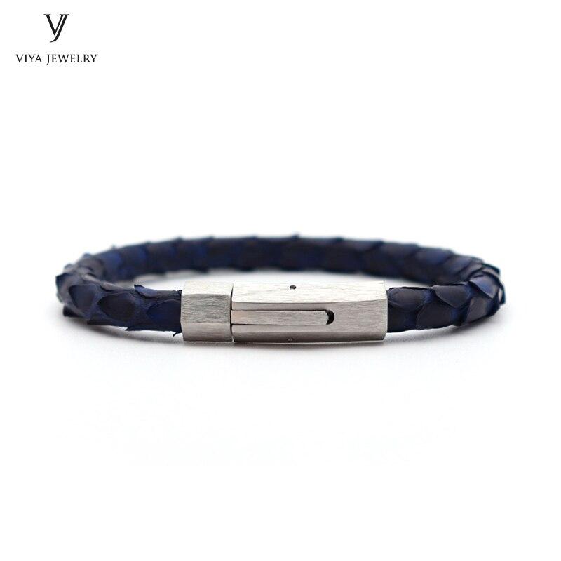 все цены на New Genuine Python Snake Skin Leather Cord Bracelet For Men High Quality 316 L Stainless Steel Magnetic Closure Bracelets