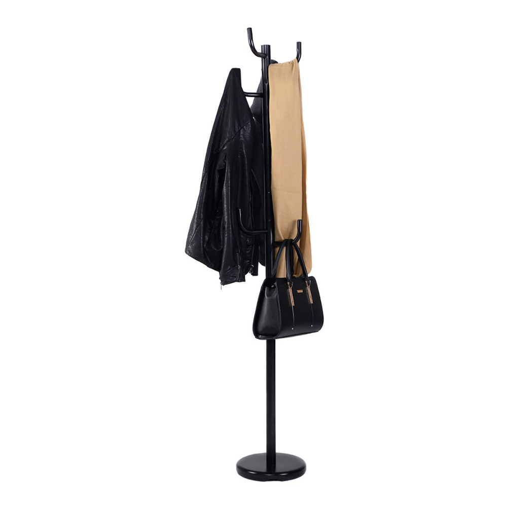 Giantex New Metal Coat Rack Hat Stand Tree Hanger Hall Umbrella Holder Hooks Black Coat Jacket Clothes Rack HW51588 inness sturdy coat rack solid rubber wood hall tree with tripod base suitable for aduit bule