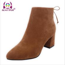 Faux Suede Pointed Toe Lace Up ankle boots for women high heel boots Ladies spring Short boots     X050