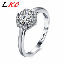 LKO Real silver Plated Six Claw CZ stone Round Cut 1 Carat 6mm Wedding Ring Austrian Crystals Wholesale For Women PR829-C(China)