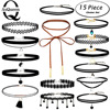 ASQUEEN 15PCS Set New Gothic Tattoo Leather Choker Necklaces Set For Women Hollow Out Black Lace
