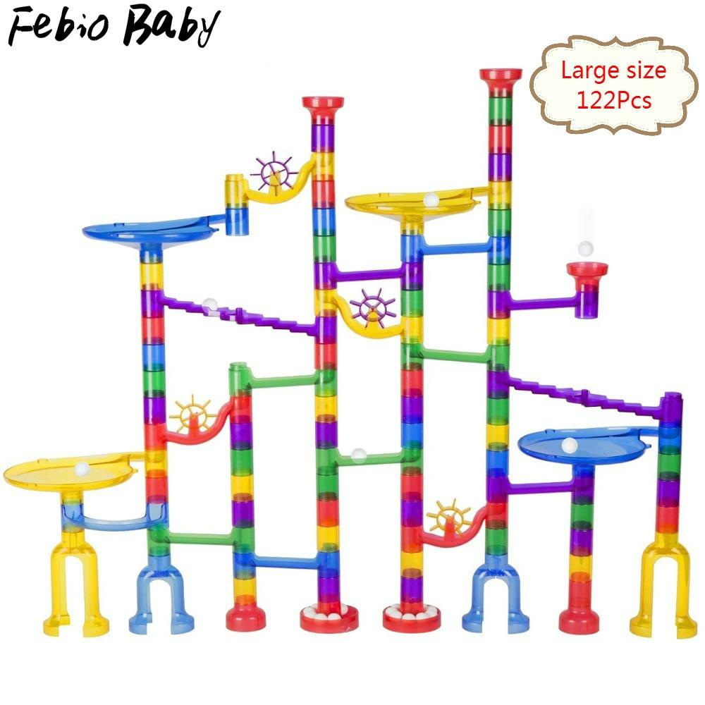 2019 nouvelle grande taille 122/Pcs ensemble bricolage Construction marbre course course labyrinthe piste blocs de Construction enfants balle rouleau jouets cadeau de noël