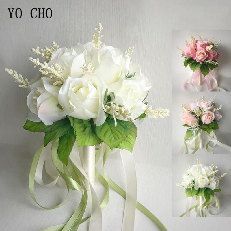 Шелковые Розы YO CHO, свадебные букеты для подружек невесты, белые, розовые Искусственные цветы, товары для свадьбы, домашнее украшение