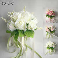 YO CHO Silk Roses Wedding Bouquet for bridesmaids Bridal Bouquets White Pink Artificial Flowers Mariage Supplies Home Decoration