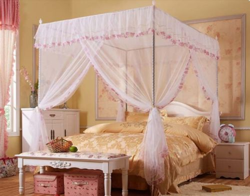Attirant White Lace Flower Four Corner Post Bed Canopy Mosquito Netting Twin Size  With Frame