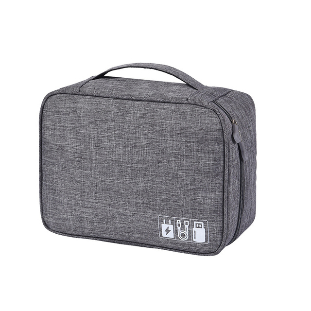 Travel Universal Cable Organizer Cases Electronics Accessories Storage Bag with Adjustable Divides