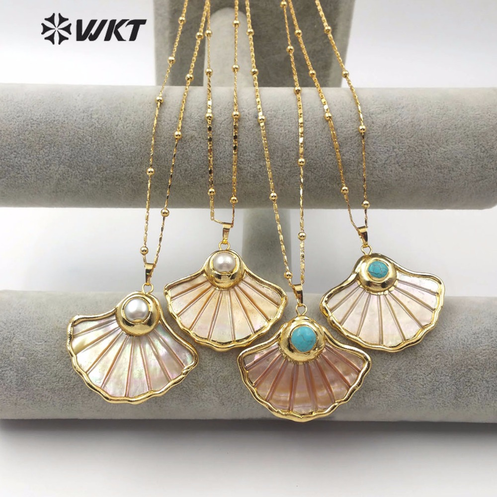 WT JN067 Classic Bohemian Style Natural Shell Pendant with Turquoises Pearl Scalloped Skirt Pattern Lady Vintage