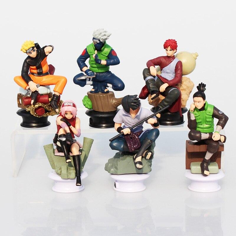6 teile/satz Naruto Uzumaki Naruto Uchiha Sasuke Kakashi Sakura Gaara Action-figuren Spielzeug PVC Puppen 7 ~ 10 cm Große geschenk