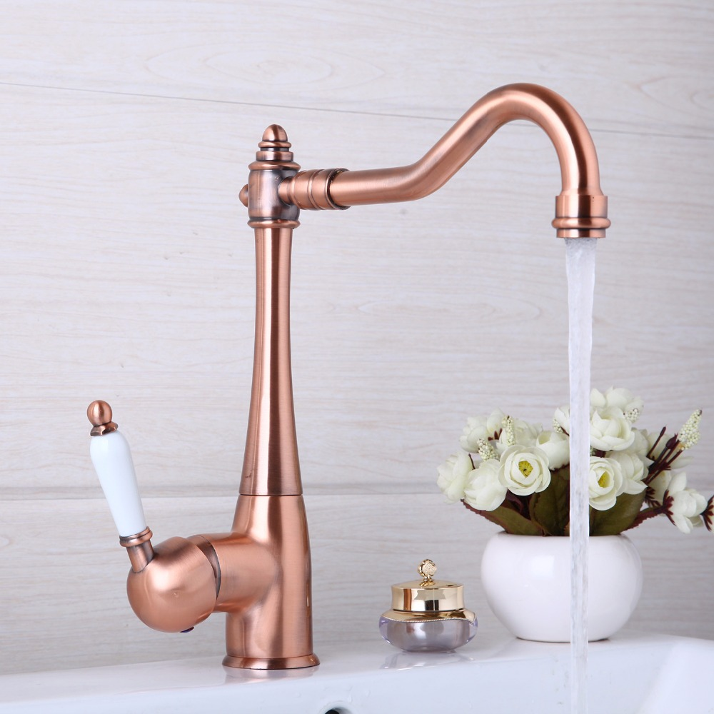 Kitchen Faucets 360 Swivel Antique Copper Mixer Tap Bathroom Basin Mixer Hot Cold Tap Faucet