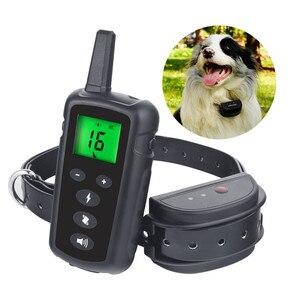 Image 1 - Тренировочный ошейник для собак 500 м с электрошоком для собак водонепроницаемый пульт дистанционного управления устройство для собак зарядка ЖК дисплей