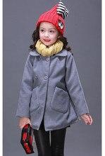 Весна Зима Корея Стиль Девушки однобортный Пальто Шерсти Пиджаки и Куртки Детская Одежда 5-12 Лет KC-1701-2