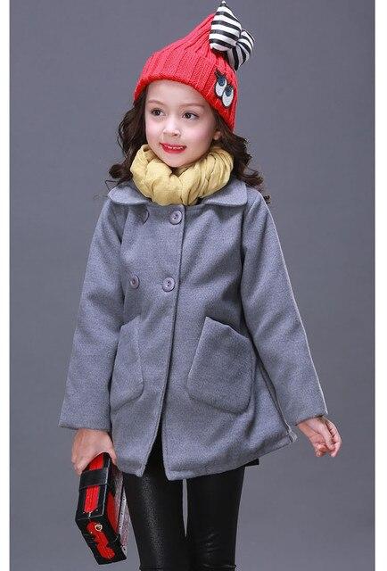 1600610b636c Spring Winter Korea Style Girls Single breasted Wool Coats ...