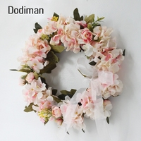 Simulation wreath hanging wall decoration wedding room door decoration handmade wreath home rose hydrangea door knocker