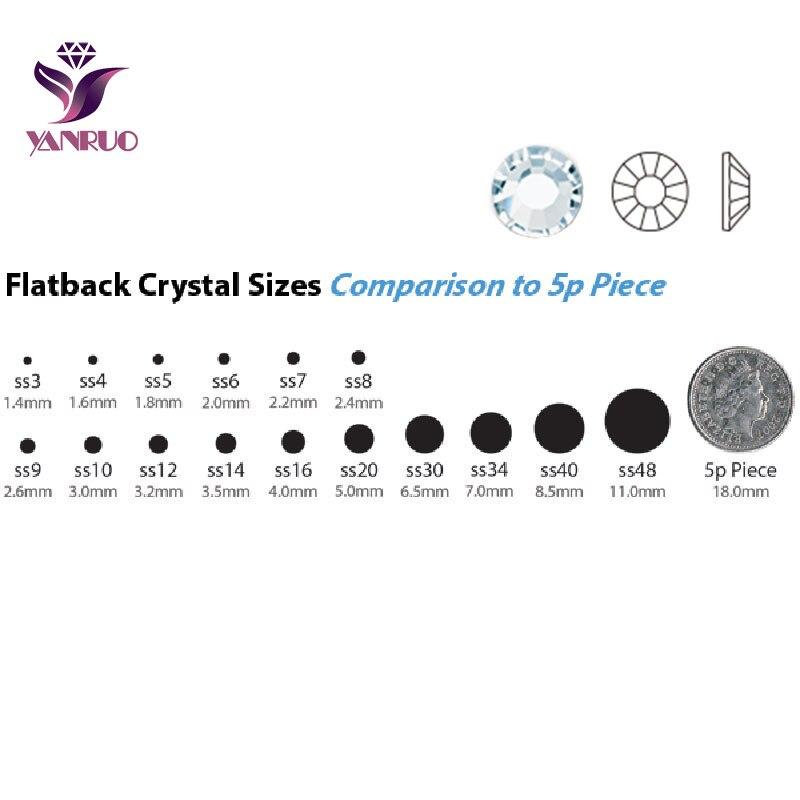 YANRUO 2028NoHF Aquamarine Color Blue Stones Non Hotfix Crystal Rhinestones for Nail Glue On Shoes
