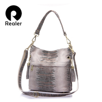 REALER Brand Genuine Leather Crocodile Bags For Women Shoulder Messenger Bags Casual Tote Bag Hobos Handbag