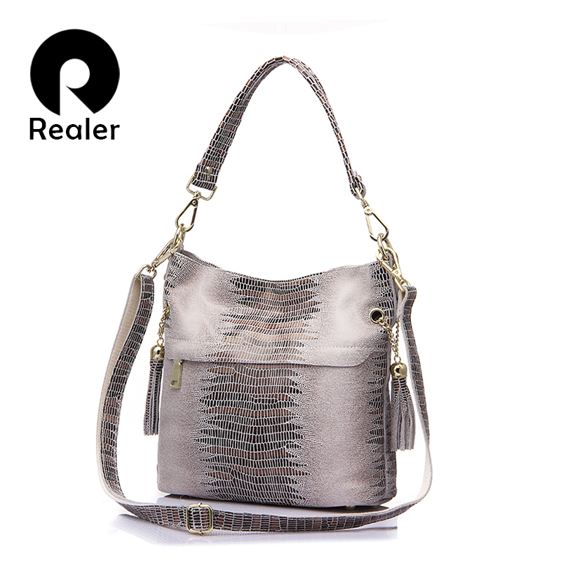 REALER handbag genuine leather crocodile messenger bags for women shoulder crossbody female totes ladies small bucket top-handle 100% genuine leather women bags luxury serpentine real leather women handbag new fashion messenger shoulder bag female totes 3