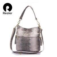 REALER Brand Genuine Leather Crocodile Bags For Women Shoulder Messenger Bags Casual Tote Bag Hobos Handbag