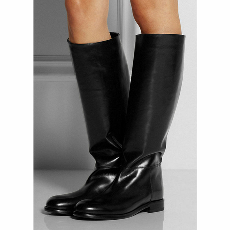 Solid Color Patent Leather High-top Boots Female Warm Cotton Boots Elastic Knee High Boots Autum Stivali Donna Bottes Femme