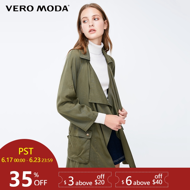 Vero Moda Women's Decorative Pocket Loose Fit Lapel   Trench   Coat|318317505