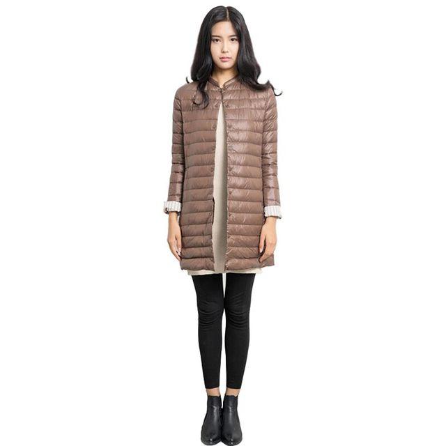 Ultraligero Abajo de la Capa Tan elegante como una capa de Las Mujeres Chaqueta de Invierno de color Sólido cuello por la chaqueta y largas secciones de CD125