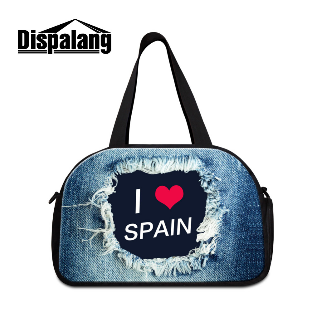 Dispalang Brand Men Luggage Travel Bag National Country Denim Print Women Shoulder Bag Multifunctional Travel Duffle Bag Tote